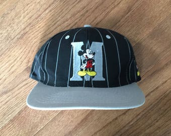 390713676f3 Vintage 90s Disney Mickey Mouse Pinstripe Snapback Hat