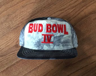49b1ef8f21c Vintage 90s Bud Bowl IV 4 Budweiser Bud Light Snapback Hat