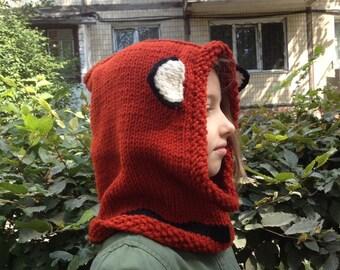 Fox Hat, Fox Hoodie, Kid Animal Wool Hat,  Hooded Scarf, Crochet Hoodie, Chunky Crochet Hat, Winter gifts, Cute hat