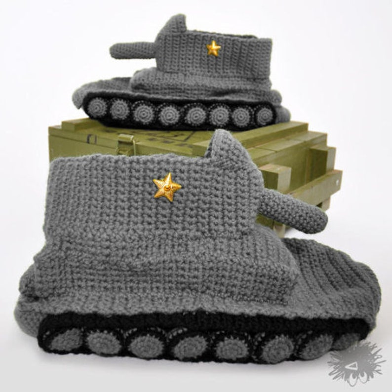 Grey Panzer Tank Slippers Knitted Army Slipper Socks Tanks ...