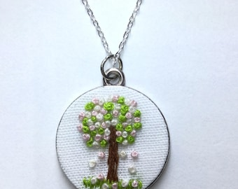 """Pendant necklace """"Spring"""" embroidered, Season collection"""