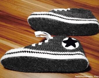 Slipper socks, House slippers, Grey slippers, Slippers for gift, Crochet slippers, Sneakers Style Slippers