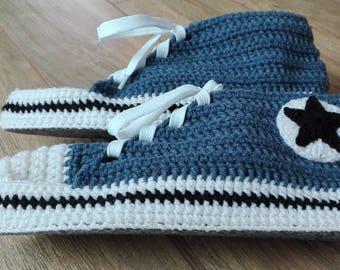 Blue slippers, Slipper socks, House slippers, Slippers for gift, Crochet slippers, Sneakers Style Slippers
