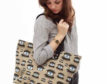 Shoulder bag tote carry all, screen-printed eyes