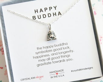 Sterling Silver Tiny Buddha, Happy Buddha Necklace, Buddha Jewelry, Good Luck Charm, Dainty Necklace