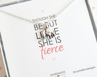 Tiny Elephant Necklace, Elephant Jewelry, Good Luck Charm, She Is Fierce Quote, Delicate Necklace, Silver Plated Antique Tone