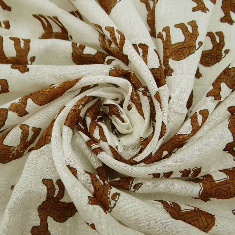 Camel Hand Block Print Indian Craft Fabric 45 Inch Cotton Fabric By The Yard ZBC8096B White Decor Fabric Sewing Crafts