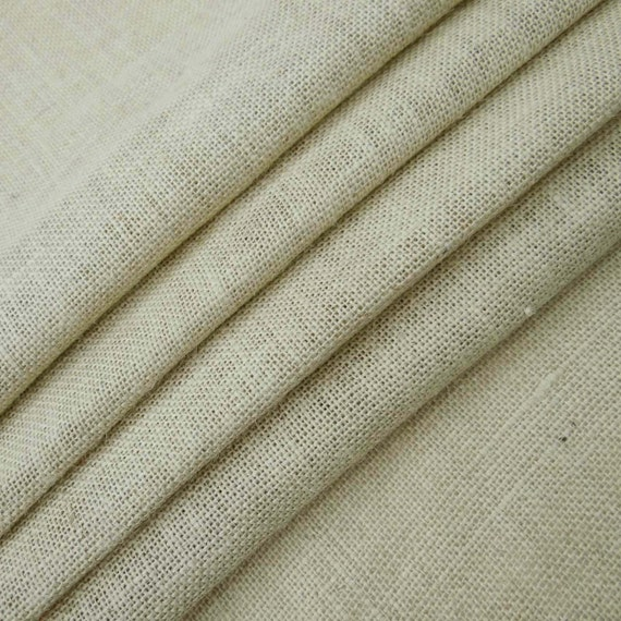"52/"" Wide Natural Burlap Cotton White Jute Jacket Making Craft Fabric By 1 Yard"