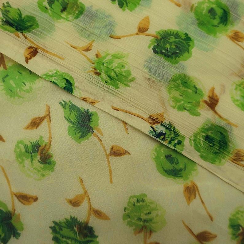 Chiffon Dress 43 Inch Chiffon Fabric By The Yard ZBCH125A Indian Designer Fabric Beige Fabric Floral Print