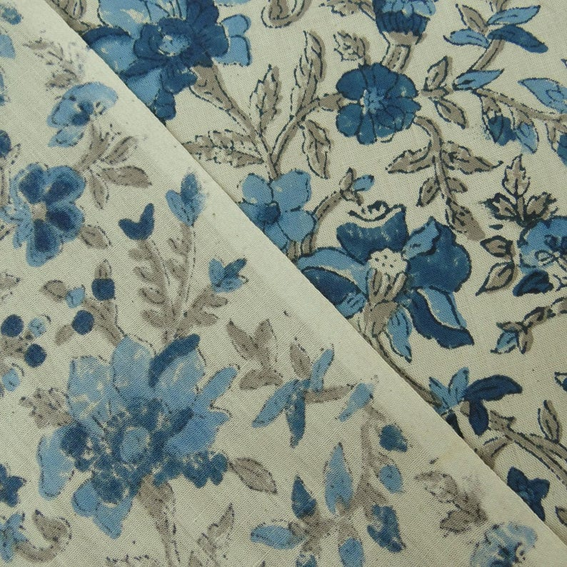 Dressmaking Fabric Beige Fabric Floral Hand Block Print 46 Inch Cotton Fabric By The Yard ZBC8180C Upholstery Fabric