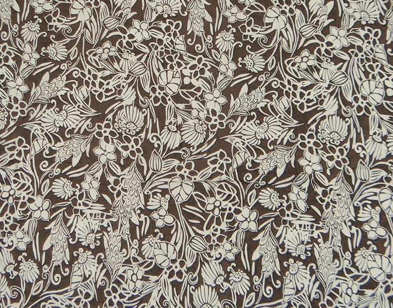 Brown Cotton Fabric Floral Print Designer Fabric Quilt Etsy