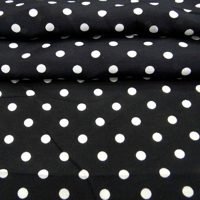 Polyester Dress Sewing Crafts Accessories White Polka Dots 56 Inch Polyester Fabric By The Yard ZBP35A Black Fabric