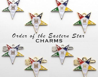 Order of the Eastern Star-OES Masonic Charms in Silver and Gold Tone - 5-Star Point Colors - OES Altar-Pentagon Up-Down adopted by States-PM