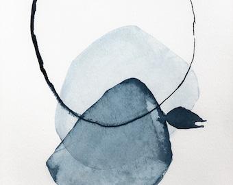 Contemporary Watercolor Painting, Original Art, Blue Wall Art, Blue Home Decor, Minimalist Art