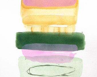 Contemporary Watercolor Painting, Original Art, 70ies , Home Decor, Minimalist Art
