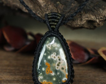 Pendant necklace silver copper wire wrap macrame silver smith stone gem jasper ocean stone jewelry making Ocean Jasper cabochon gemstone