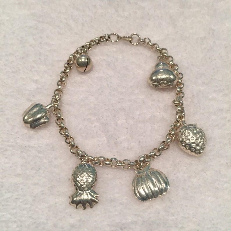 Sterling 6 Rolo Bracelet with 6 Fruit Charms Item # SBR107 Circa 1970/'s