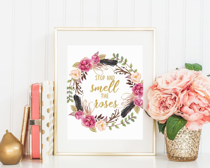 Typography Quote Kids Wall Art Stop and smell the roses Motivational Art Inspirational Quote Wall Decor 16x20 11x14 8x10 5x7 4x6