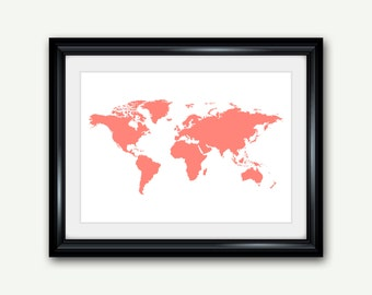 World Map Print, Coral Printable Wall Art, Digital Download Print Poster Home Decor 18x24 11x14 8x10 5x7 4x6 INSTANT DOWNLOAD - 094