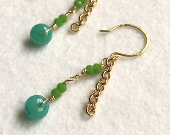 green and gold earings