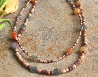 Boho oatmeal necklace