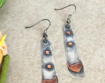 Very rustic bird dangle earrings