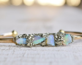 Opal Jewelry - Opal Bracelet, October Birthstone, Raw Opal Cuff Bracelet, Birthstone Gift, Birthday Gift for October, Australian Opal