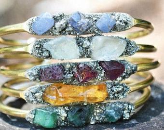 Birthstones, Bracelet with Natural Gemstones, Mothers Bracelet, Raw  Birthstone Jewelry, Unique Gift for Women, Birthstone Jewelry
