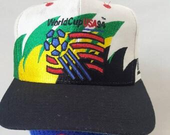 616af68a9a1 Vtg 1994 World Cup Soccer Double Sharktooth Snapback hat cap Futbol Fifa
