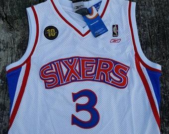 d6dd564b0 Allen Iverson Philadelphia 76ers Throwback Sixers Jersey Crosses Jordan