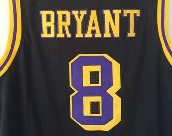 cf065945e Los Angeles Lakers Retro Kobe Bryant  8 Black Gold Adidas Jersey Vintage  Black Mamba