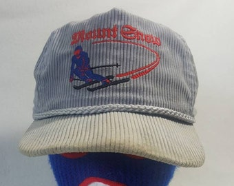 ff0e9828024 Vtg Mount Snow corduroy leather strapback hat Ski Vail cap