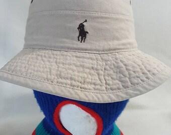 9021363da45 Vtg khaki Ralph Lauren Polo Bucket hat cap brown Horse Boonie cap