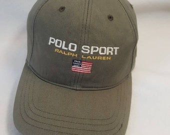 8802a29b262 Vtg Polo Sport Olive strapback dad hat Ralph Lauren RL Flag