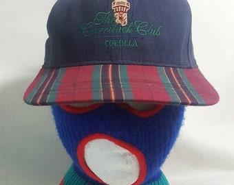 2ababf8db13c3 Vtg Currituck Club Plaid brim Leather strapback hat Golf Cap cali fame made  in USA