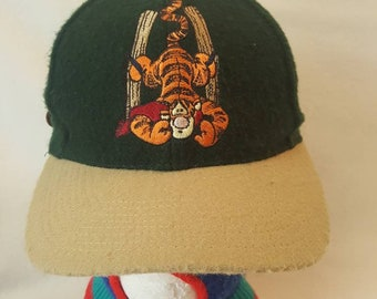 97be024a228 Vtg Winnie the Pooh Tigger Disney wool dad hat leather strap