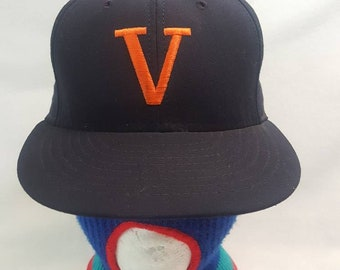 bcc69e2e75e52 Vtg UVA University of Virginia University Square fitted hat cap sz 7 1/8  made in USA