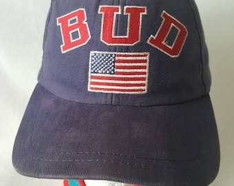 Vintage 1995 BUD USA polo Dad hat strapback hat Alcohol Anheuser busch 8c5cbc1bcf27