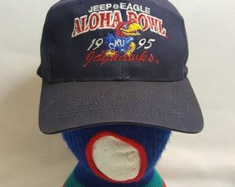 f1d804386dfb4 Vintage Kansas Jayhawks 1995 Aloha Bowl snapback hat University College  RockChalk KU