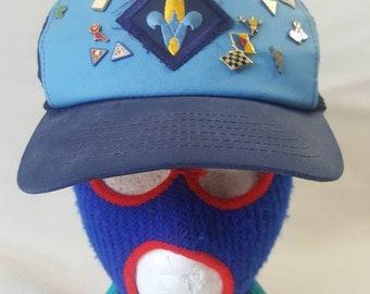 83cf8ea611319 Vtg Webelos BSA Boy Scouts Trucker Mesh Snapback Hat Cap made in USA