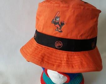 9b4daa6a7b6 Vintage 90s Baltimore Orioles Miller Lite orange Bucket hat MLB fisherman  cap