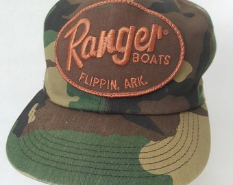 2966f225bce6d Vtg Ranger boats Camo snapback hat cap woodsmen hunting k products brand  Made in USA