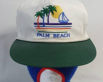 0995f9a7647 Vtg Palm Beach snapback hat with tags beer retro 90s beach surfer