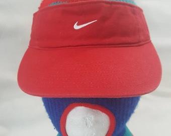 85003cf921a Vtg Nike Swoosh Visor hat red   white cap