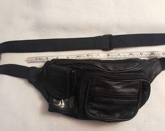 06451a33c2c265 Vtg Genuine black Leather patchwork Fanny Pack Waist Bag w  cell phone    beeper pocket