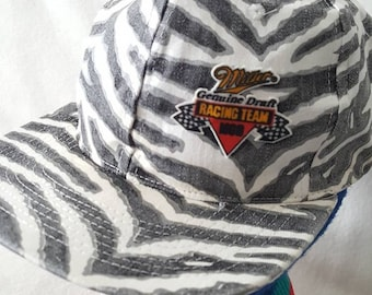 Vtg Miller Genuine Draft Racing Zubaz snapback hat cap 879f66e64412