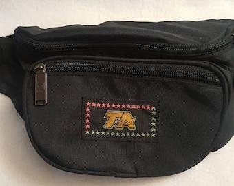 dd93478fc9bfd2 Vtg 80s TA Black Fanny Pack Waist Bag