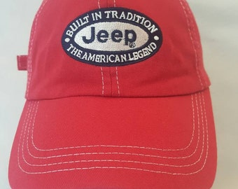 581d63b2 Vtg Jeep Strapback Dad Hat American Legend 4x4 Cherokee Wrangler ATV