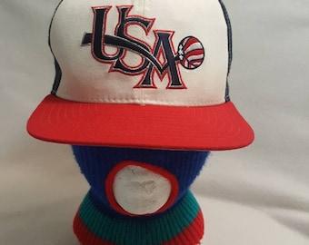 11aa0d14 Vtg Dream Team USA Basketball new era Dupont Visor snapback hat