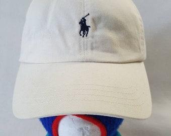 98bc6dc5753 Vtg Polo khaki dad hat blue horse strapback leather strap
